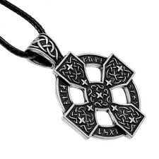 Antique Silver Plt Elder Futhark Sunwheel Cross Pendant Necklace  Viking Norse