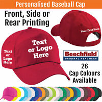 Printed Beechfield Baseball Cap Personalised Custom Hat Text Logo Unisex BC010