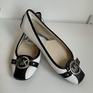MK Michael Kors black white flat leather shoes 6.5 uk slip on pumps ballerina