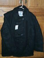 US Navy Style Men's Black Wool Peacoat Pea Coat NEW Adult Men's Size SMALL