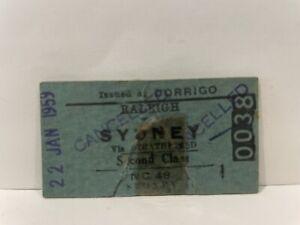 NSWGR Railway Second Class Ticket Raleigh to Sydney Issued at Dorrigo 1959