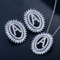 CWWZircons Luxury CZ Letter Name Pendant Necklace Earrings Jewelry Sets for Lady