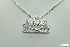 Rapunzel Tangled Pendant Necklace Disney Princess 925 Silver Tiara Crown Charm