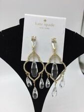 $98 Kate Spade  Clear Lantern Gems Quatrefoil long  Drop Earrings #S58