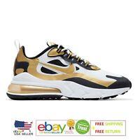 Nike Air Max 270 React White Black Metallic Gold CW7298-100 Men's Running Shoes