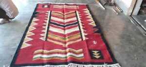 Large Wool Kilim Navajo Southwestern Bohemian Red Rug 5'x8' Handmade Rug