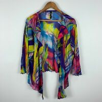 TS Womens Cardigan Top Large Plus Multicoloured Long Sleeve Open Front