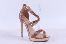 Pink Boutique Rose Gold / Silver Embellished Platform High Heel Sandles / Shoes