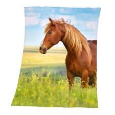 Pferd Fleecedecke Kuscheldecke mehrfarbig 130x160 Cm Pferde decke