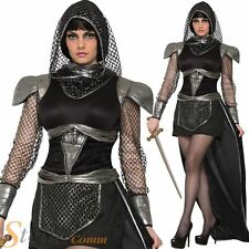 Ladies Glamorous Knight Costume Medieval Gothic Fancy Dress Outfit