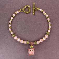 3D PIG TOTEM BRACELET Piglet Piggy Pink Lampwork Gold Heart Animal Magick SHORT