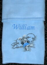 Personalised Baby Blanket Embroidered Sleeping Baby & Bunny Blue Newborn, Gift