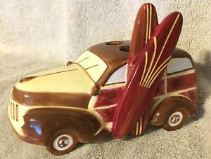 Studebaker Ceramic Toothbrush Holder No Boundries  Woodie Car Surfboards - Chips