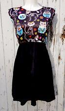 Candy Skull Cat Dress - Size 10 12 14 Skater Rockabilly Skeleton Day of the Dead