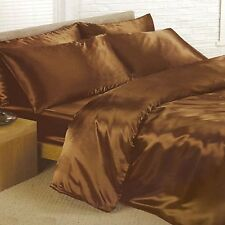 CHOCOLATE BROWN SINGLE SATIN DUVET COVER, FITTED SHEET, 2 x PILLOWCASES NEW SET