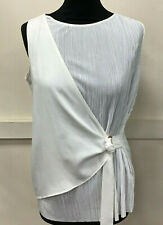 Womens Next White Sleeveless Wrap Top Size 8 Petites NEW With Labels