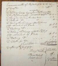 "1786 GRAFTON MASSACHUSETTS ""GEORGE A NEGRO"" Handwritten Manuscript Bonding &c."