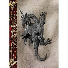 Horned Dragon Climbing Wall Sculpture Gothic Castle Home Decor