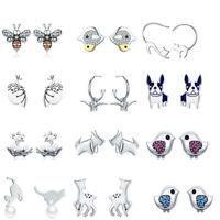 Voroco Sloth & Bee 925 Sterling Silver Stud Earrings Women Engagement Jewelry