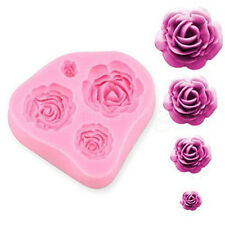 3D Tray Soft 4 Size Rose Silicone Decorating Shape Cake Mould Tool Mold 0007R