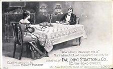 Advertising. Faulding, Stratton & Co Tablecloths, London. Birket Foster Design.