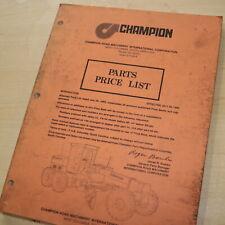 CHAMPION Motor Grader 1980 Price List Manual Book machinery equipment road guide