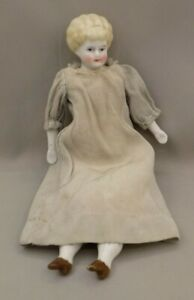 Antique 8 Inch China Head Doll With Homemade Dress and One Piece Pantaloons
