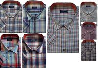 New Mens Big & Tall Short Sleeve Casual Sleeved Chekred Checked Shirt Shirts