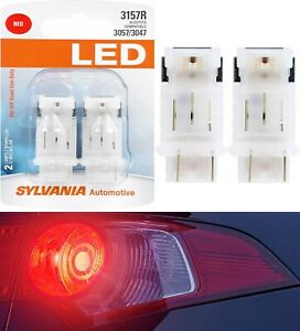Sylvania LED Light 3157 Red Two Bulbs Brake Stop Tail Replacement Upgrade Lamp