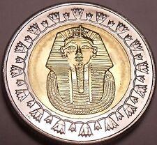 Gem Unc Bi-Metal Egypt 2008 1 Pound~King Tutankhamun~Read The History~Free Ship