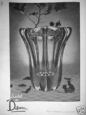PUBLICITÉ 1952 VASE CRISTAL DE DAUM GALERIE D'EXPOSITION 31 RUE DE PARADIS PARIS