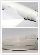 2 Silverado WHITE Carbon Fiber Chevy Bowtie Vinyl Sheets Emblem Overlay