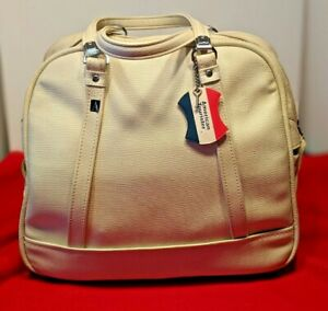 Vintage American Tourister Carry On Tote Overnight Bag Luggage Ivory TOURISTER