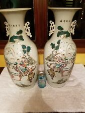 Antique Chinese Old Pair Family Rose Of Porcelain Vases Marked Asian China Ming