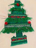 Vintage Christmas Tree Woven Wall Door Hanging Decoration Holiday Guatemala