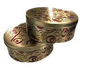 Premium Cookie Tins With Lids Red And Gold Design Holiday Candy Container 2 Pack