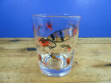 Vintage FLY FISHING LURES Tumbler Glass Double Old Fashion Glass 14 oz.