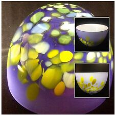 "Art Glass Bowl Sasaki Crystal Poland Peacock 10"" Purple Yellow Green Confetti"