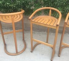Set If 4 Barstools Danish Modern Bentwood Chairs Mcm Vtg