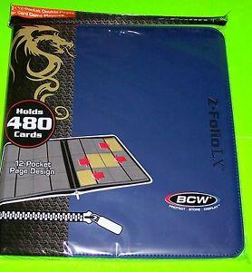 ZIPPER PORTFOLIO, BLUE GAMING Z-FOLIO 12-POCKET LX ALBUM, HOLDS 480 CARDS
