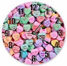 """10.5"""" CANDY HEARTS VALENTINES CLOCK - Large 10.5"""" Wall Clock - Home Décor 3219"""