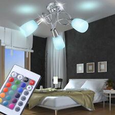 LED Decken 3-er Glas Strahler RGB Licht Dimmbar Flur Bad Lampe mit FERNBEDIENUNG