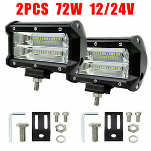 2X LED Work Light Bar Flood Spot Lights Driving Lamp Offroad Car SUV 12V/24V 72W