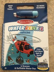 Melissa and Doug Reusable WATER REVEAL, VEHICLES NEW Great For Travel