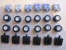 LEGO 12 Sets of Technic Wheel and Tyre Units Grey & Black with White Wheel Hubs
