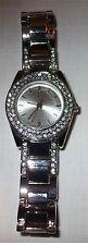 F & F Ladies Analogue Quartz Watch with Diamantes Silver Colour Girls PN636