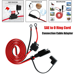 12-24V 16AWG Car RV SAE to O Ring Cord Connection Cable Adapter Battery Charging
