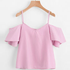 Fashion Sexy Womens Lady Loose Casual Stripe Off Shoulder Shirt Tank Tops Blouse