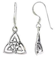 Interlaced Triquetra Celtic Design Hook Dangle Earrings .925 Sterling Silver