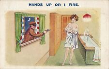 POSTCARD   COMIC    Hands up or I fire